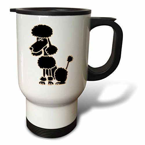 3dRose tm_200082_1 Cute Black Poodle Sitting Original Art Travel Mug, 14-Ounce, Stainless - Poodle Mug Travel