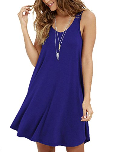 Cinched Tank Dress - MOLERANI Women's Casual Swing Simple T-shirt Loose Dress, X-Large,  Royal Blue