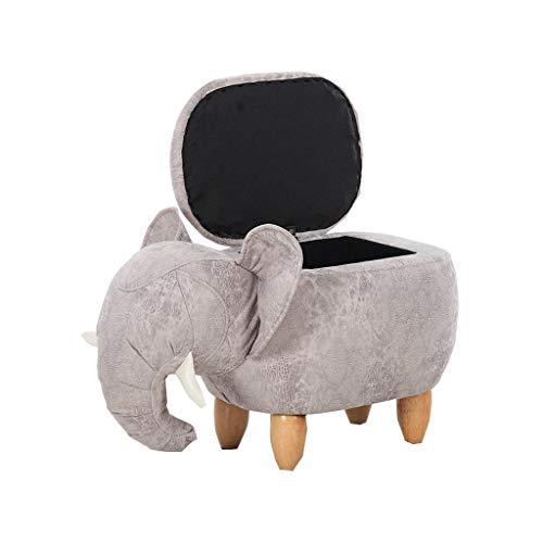 YAnFAn & Stools Footstool Ottomans Premium Quality Comfort Upholstered Footstool Ottoman Pouffe Wood Legs Change Shoe Makeup Stool Elephant Shape for Home & ()