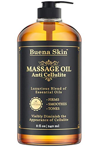 (Cellulite Treatment Massage Oil - Penetrates Skin 6X Deeper Than Cellulite Cream -100% Natural Ingredients, Targets Unwanted Fat Tissue - By Buena Skin 8 OZ)