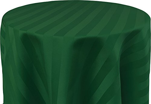 Round Ultra Hunter - Bright Settings 120 Inch Round Tablecloth, Polystripe - Ultra Wide, Hunter