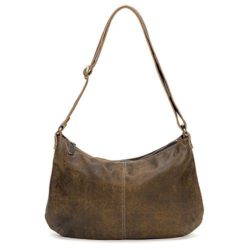 Brown Distressed Italian leather Crossbody Hobo by Brynn Capella Handbags