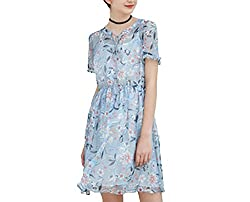 Europe And United States Women S Summer New Lotus Leaf Sleeve Printing Waist Boutique Short Sleeved