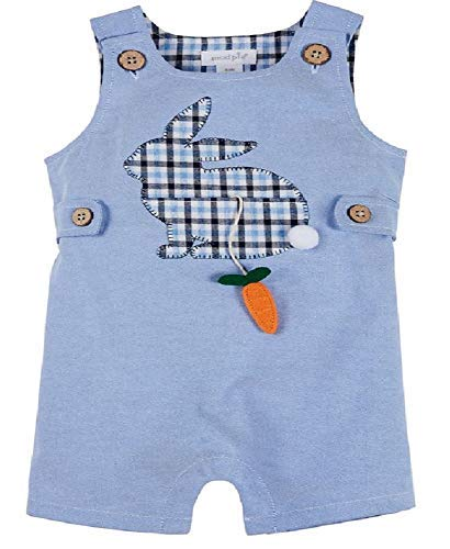 Mud Pie Baby Girl's Bunny Shortall (Infant) Blue 12-18 Months