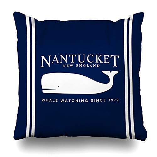 Ahawoso Throw Pillow Covers Navy Blue Nautical Nantucket Whale Pillowslip Square Size 18 x 18 Inches Cushion Cases Pillowcases