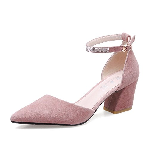 With Shoes Jqdyl Female Spring High Shoes Wild heels Pointed Rough Shoes A Shoes Heels New Student High Female Single Pink Cvq6wRC