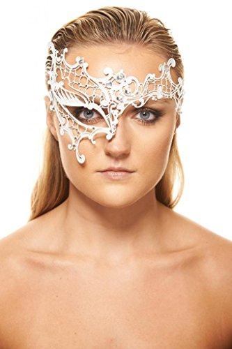 Kayso Inc Signature Phantom of the Opera Venetian Laser Cut Masquerade Mask, White with Clear (One Eye Masquerade Mask)