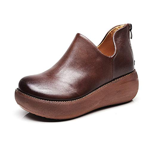 Pelle Women Shoes Dimensione Jane Eu Marrone Mary Zipper Vintage Platform 39 colore Marrone Fuxitoggo ISRfwxqS