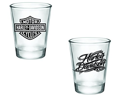 Gift Pack - Harley Davidson Logo and Cursive Shot Glasses - Set of 2 (2oz) - Great Gift Idea