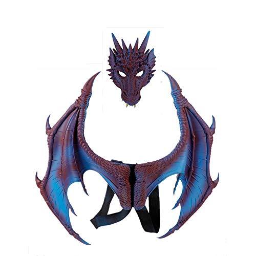 Halloween Carnival mask Dragon mask Cosplay Dragon Wings Dragon Tail (Blue)