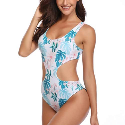 One Piece Swimsuit for Women Backless Tropical Forests Pattern Double Wear Monokini Tummy Control Boho Beachwear -