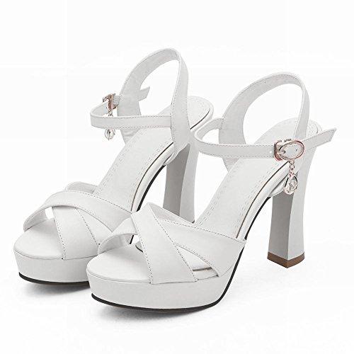 Sandali bianchi con fibbie per donna Comprar Descuento Grande Barato SjmxcHP3