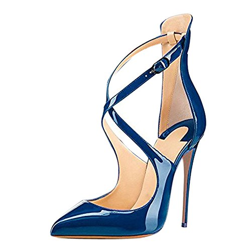 Lack Damen Onlymaker Zehen Criss High Stiletto Heels Blau Cross Hochzeit Spitze Sandalen Glas Party d4UqcwxFIq
