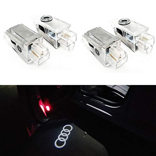 4 Pcs Double Interface Design Car Door LED Logo Projector Ghost Shadow Lights Compatible With Audi A4 A3 A6 Q7 Q5 A1 A5 TT A8 Q3 A7 R8 ()