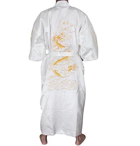 SexyTown Long Satin Lounge Bathrobe Classic Print Kimono Bobe Nightgown Large White