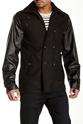 Men's Coat, Seduka Wool Blend Military Jacket (Large, Black Faux Leather)