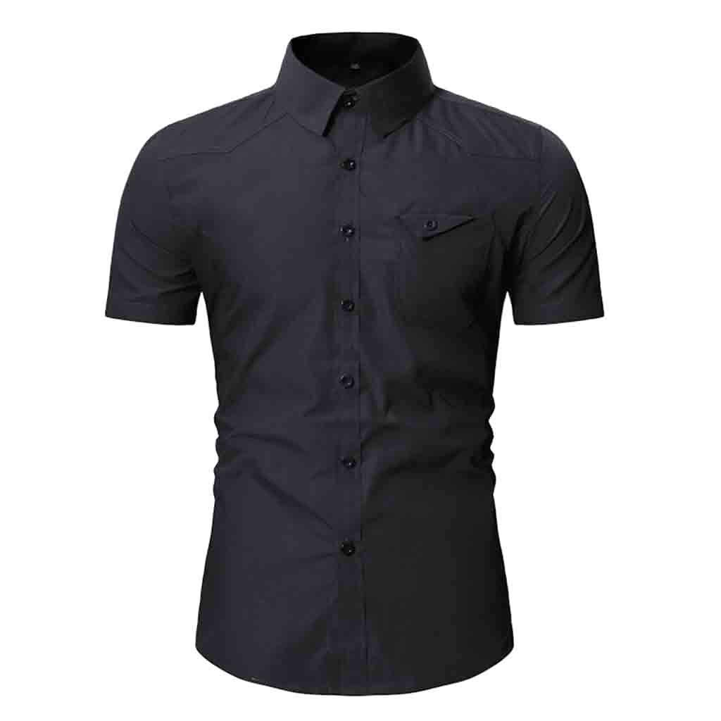 NUWFOR Fashion Men's Button Personality Pocket Short Sleeve T-Shirt Blouse Tops(Black,M US Chest:40.16''