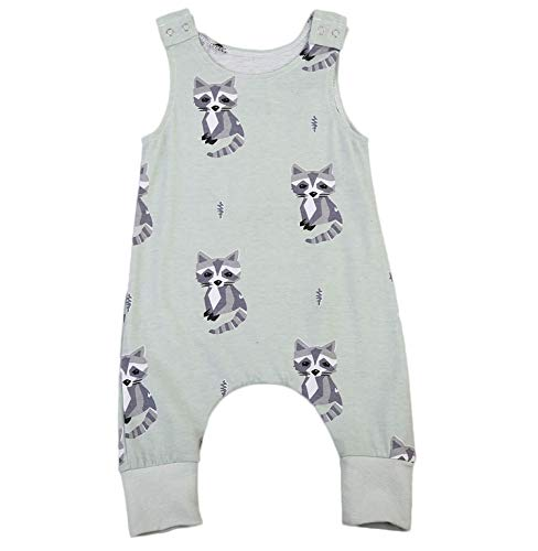 - Small&beautiful Infant Unisex Baby Fox Print Romper Sleeveless Jumpsuit Bodysuit Playsuit Outfits (18-24 Months, Green)