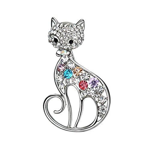 dds5391 Women's Cut Cat/Fox Brooch Pin Shiny Rhinestone Party Jewelry Scarf Accessory - Cat