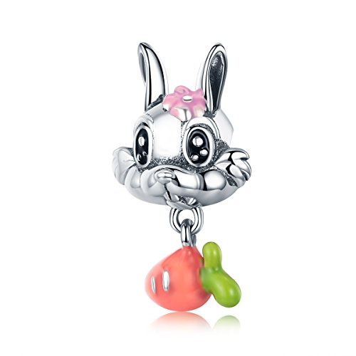 The Kiss Enamel Cute Carrot & Rabbit Dangle 925 Sterling Silver Bead For European Charm Bracelet