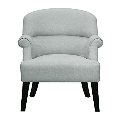 """Pulaski  Upholstered Roll Arm Accent Chair, 27.95"""" x 29.92"""" x 33.46"""", Fog Grey - Taking on a modern air, this classic club chair features traditional roll arms updated with clean lines and tapered wood legs. A channeled back offers double padding in the back for extra support disguised as a design detail. 27.95"""" L x 29.92"""" W x 33.46"""" H Hardwood solid frame and generous padding for comfort and durability - living-room-furniture, living-room, accent-chairs - 41gfyFN86pL. SS400  -"""