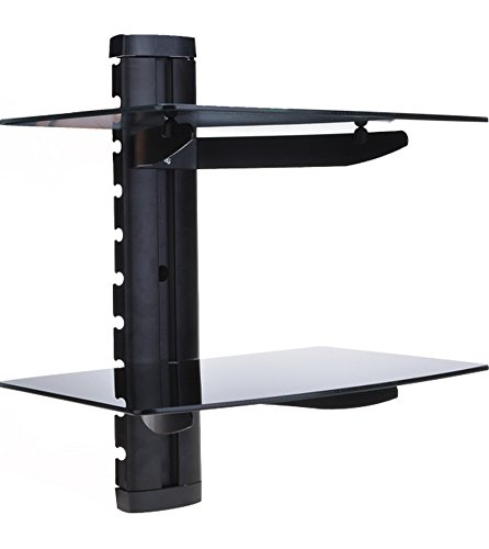 Anfan Wall Mounted AV Shelf 2-Tier Floating Tempered Glass Shelf for DVD Players/Games Consoles/Cable Boxes/TV Accessories -- Support up to 17.6lbs by Anfan