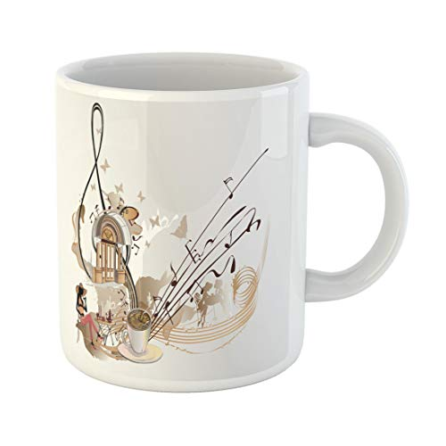 (Semtomn Funny Coffee Mug Coffee Music Abstract Treble Clef Decorated Notes Sweets 11 Oz Ceramic Coffee Mugs Tea Cup Best Gift Or Souvenir)