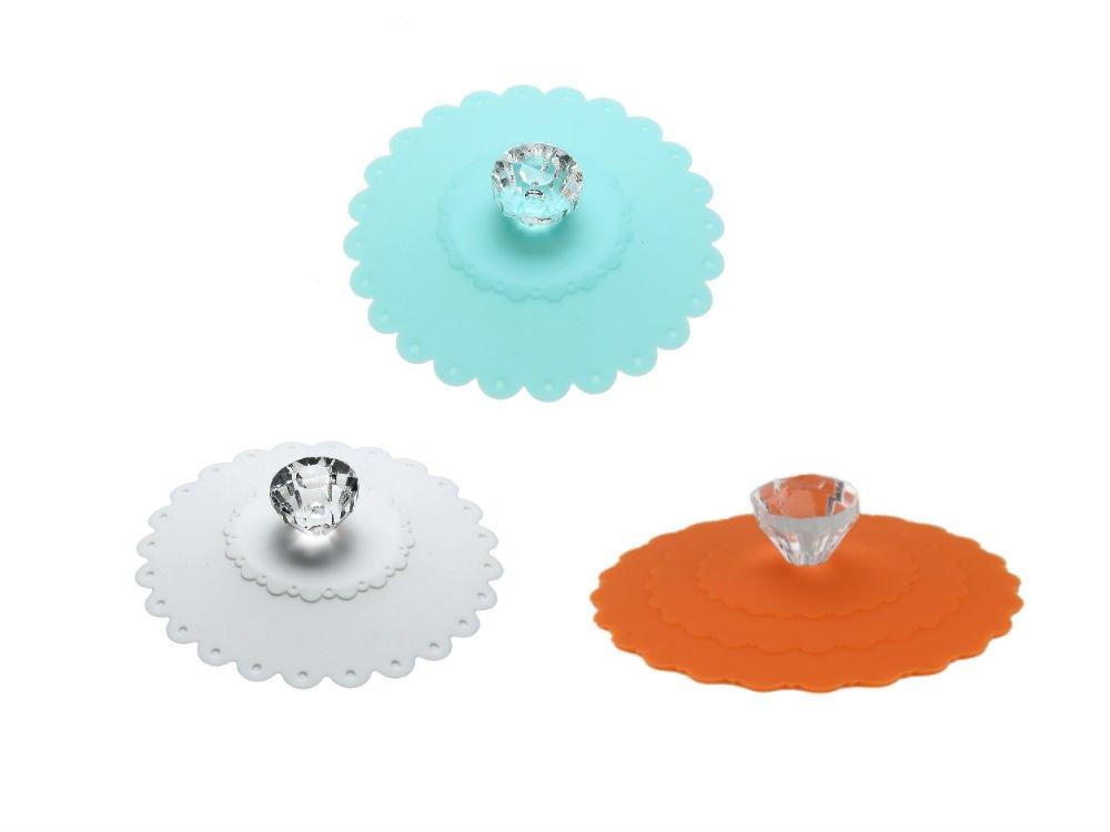 AKOAK 3 PCS New Cute Anti-dust Silicone Acrylic Diamond Glass Cup Cover Coffee Mug Suction Seal Lid Cap,Light Blue,White and Orange