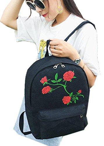 Women's Shoulder H Ladies White Satchel Handbag Embroidered Girls 3inch Rucksack Canvas School L Book Bag W Black Backpack 4 Floral 10 Bag 6inch 15inch rApwrf