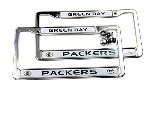 MT-Sports Store Football Team 2 Pcs 4 Holes Car Licenses Plate Frames Stainless Steel (Green Bay Packers) -
