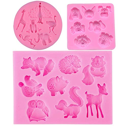 Animal Various - 3D Silicone Various Animals Shape Moulds Fondant Nonstick Baking Cake Mold Chocolate Cupcake Baking Mold Muffin Cup Soap Mould Candy Jelly Ice Cookies Pudding Molds (Animals Silicone Fondant Molds)