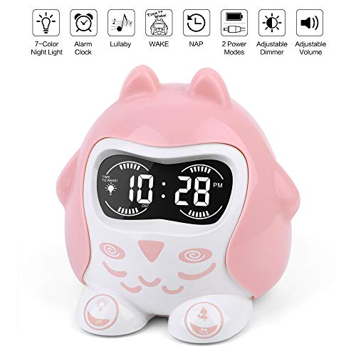 White Noise Sound Machine, Kids Sleep Trainer&Time to Wake Alarm Clock, Baby Sleep Soother with 9 Sounds&Lullabies, Portable Sound Therapy&7 Colored Night Light, Timer, NAP, Plug In Or Battery Powered