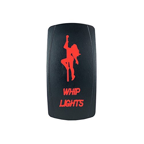 Laser Backlit Red Rocker Switch GIRL WHIP LIGHTS 20A 12V On/off LED Light STV Motorsports -
