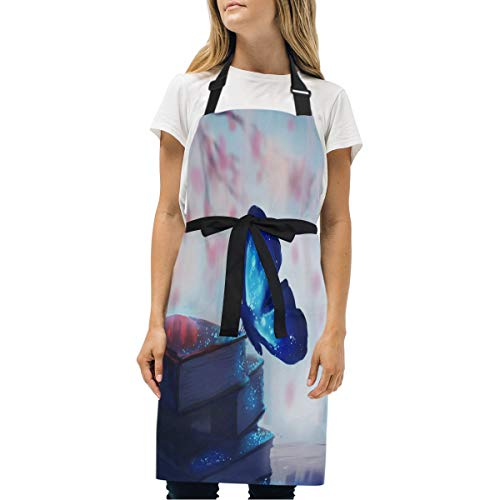 HJudge Womens Aprons Butterfly Firework Star Shimmer? Kitchen Bib Aprons with Pockets Adjustable Buckle on Neck
