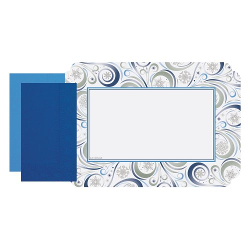 """Hoffmaster 856767 90162-C179 Silver Snowflake Combo Pack, 9-3/4"""" x 14"""" (Pack of 500)"""