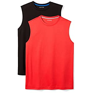 Amazon Essentials Men's 2-Pack Performance Muscle T-Shirts, Black/Red, X-Large