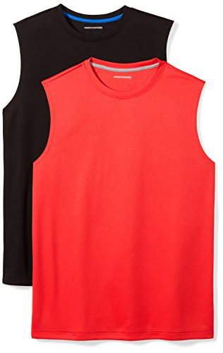 Amazon Essentials Men's 2-Pack Performance Muscle T-Shirts, Black/Red, Large