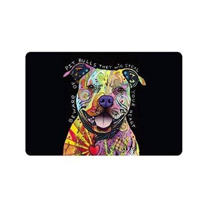 Sweetshow Custom Pit Bull Dog, Beware of Pit Bulls They Will Steal Your Heart Indoor/Outdoor Doormat Door Mat Decor Rug Non Slip Mats 23.6