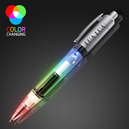 Plastic Multicolor LED Pen with Silver Barrel (Set of 12)