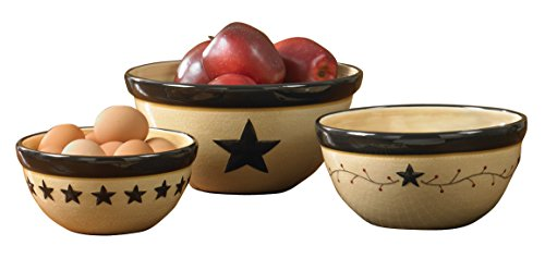 Multi Color Star Design - Park Designs Star Vine Mixing Bowls (Set of 3), Multicolor