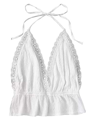 Back Lace Trim - KAMISSY Women's Sexy Lace Panel Trim Halter Open Back Solid Crop Top (Small, White-1)