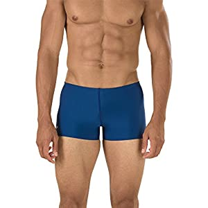 Speedo Men's Endurance+ Polyester Solid Square Leg Swimsuit
