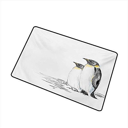 (BeckyWCarr Sea Animals Front Door mat Carpet Hand Drawn Art Penguins Aquatic Flightless Birds Polar South Pole Wildlife Machine Washable Door mat W29.5 x L39.4 Inch,Black White)