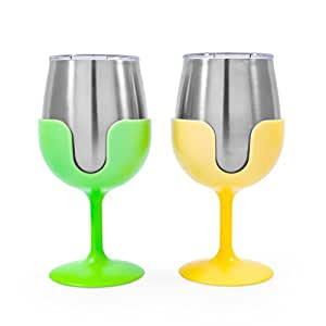 Camco 51916 Yellow Green Stainless Steel Tumbler Set Removable Bright Yellow Lime Green Wine Glass Stems-Leak Proof Lid, 8 oz