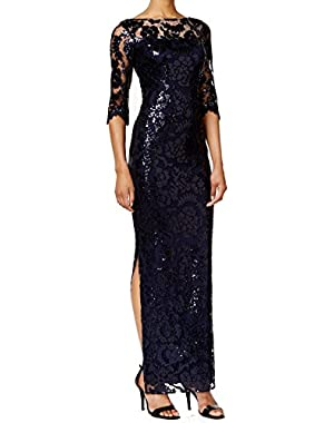 Twilight Womens Sequin Illusion Ball Gown Blue 2