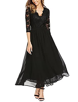 AL'OFA Women's Sexy Deep V Neck Backless Floral Lace Chiffon Formal Evening Maxi Dress
