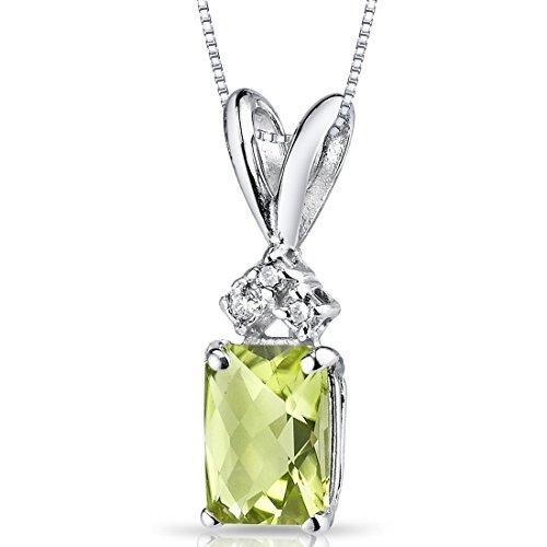 14 Karat White Gold Radiant Cut 1.00 Carats Peridot Diamond ()