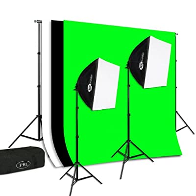 Photography Video Studio Light Kit Continuous Lighting Kit EZ Softboxes Chromakey Backdrop Support System from Pbl