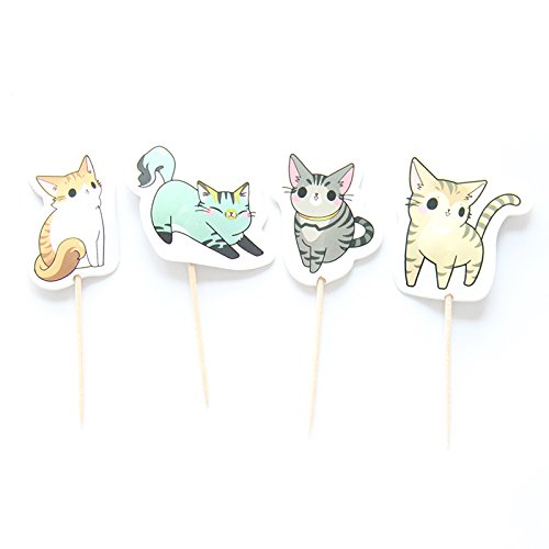 Price comparison product image iMagitek 48 Pcs Cute Cat Cupcake Toppers Picks Cute Kitten Cake Toppers Decorations for Kids Birthday Party Wedding Baby Shower Party