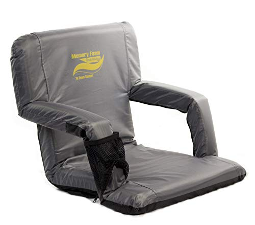 """Memory Foam Stadium Bleacher Seat with Back & Armrest   Extra Wide Feature Adds 6"""" More Seating   Adjustable 6-Positions w/ Water Resistant Material, & Backpack (Adjustable T-pad Armrests)"""